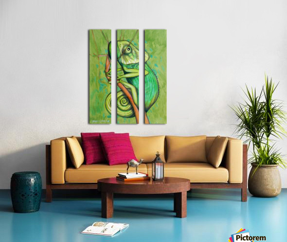 green chameleon Split Canvas print