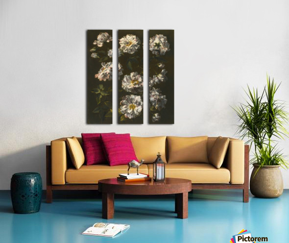 A study of striped white gallica roses Split Canvas print