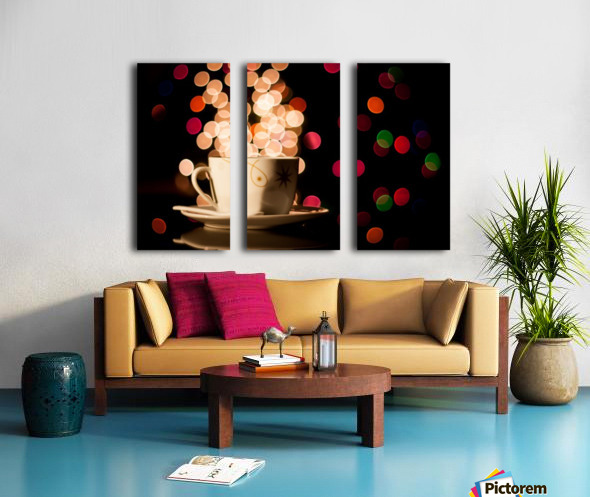 Christmas background with cup of tea Split Canvas print