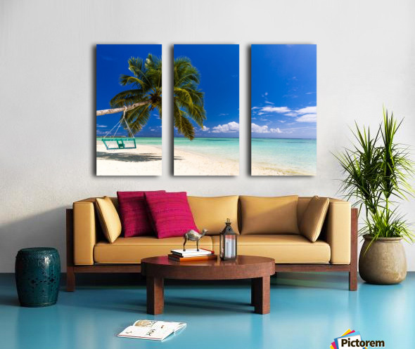 Untouched tropical beach in Maldives Split Canvas print