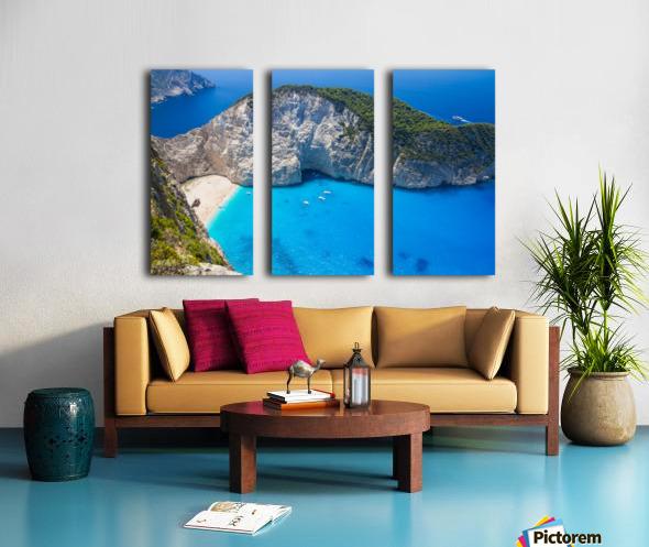 Amazing Navagio Beach in Zakynthos Island, Greece Split Canvas print