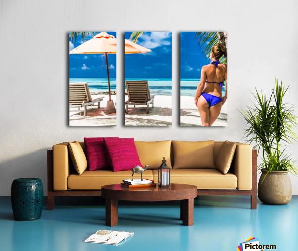 woman in bikini under palm on sea background Split Canvas print