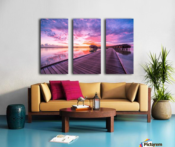 Amazing tropical sunset beach, luxury overwater bungalow Split Canvas print
