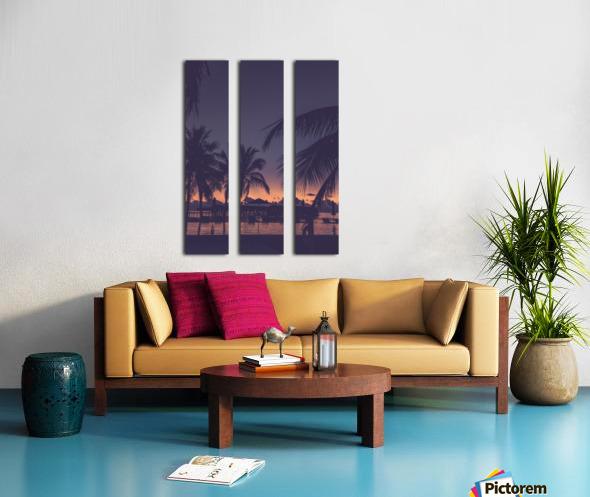 Palm trees silhouette on sunset tropical beach Split Canvas print