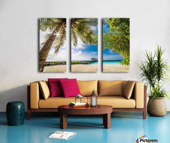 Palm and tropical beach Split Canvas print