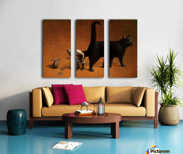 Black cat Split Canvas print