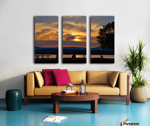 Sunset on the Shores of Ticonderoga Split Canvas print