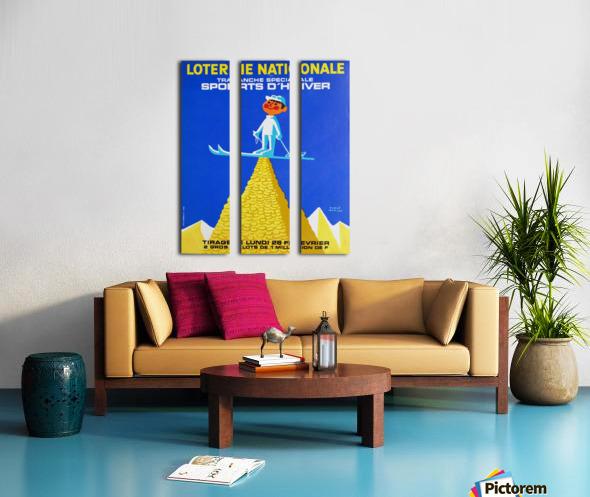 Loterie Nationale original vintage poster ski winter sport Toile Multi-Panneaux