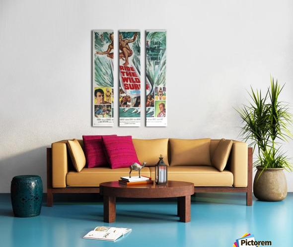 Original Vintage Surfing Movie Poster - Ride The Wild Surf Split Canvas print
