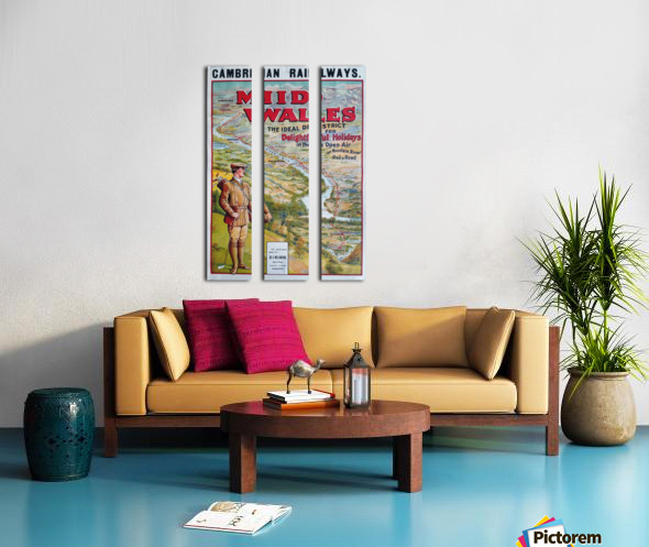 Original vintage poster golf Cambrian railways Mid Wales river Split Canvas print