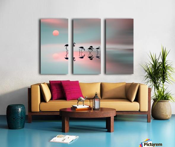 Family flamingos Split Canvas print