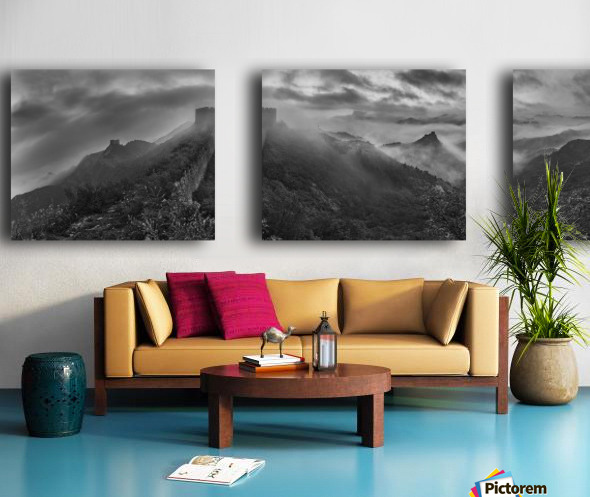Misty Morning at Great Wall Split Canvas print