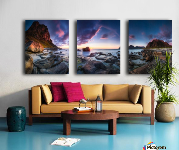 Utakleiv sunset Split Canvas print