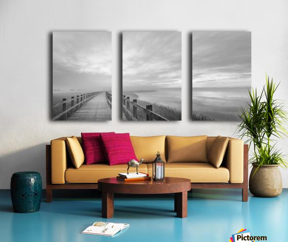 The long wooden footbridge. Split Canvas print