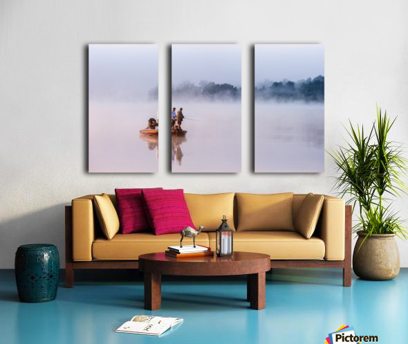 Fishing on Foggy Lake Split Canvas print