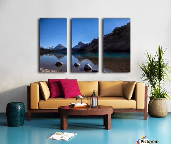 Bow lake under moonlight  Split Canvas print
