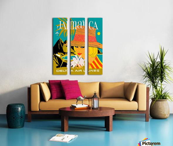 Vintage Jamaica Delta Airlines Poster Split Canvas print