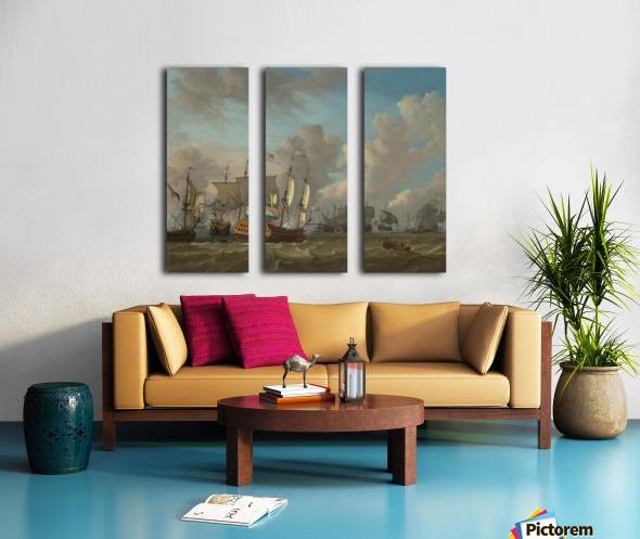 Dutch ships in a naval skirmish Split Canvas print