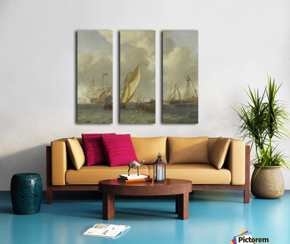 Dutch ships on choppy coastal waters by a spit of land with a beacon Split Canvas print