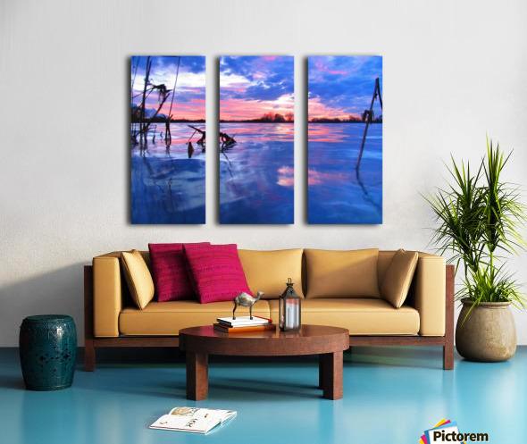 Low winter sunset Split Canvas print