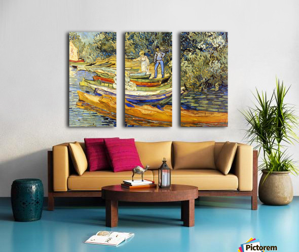 The Riverbank, La Grenouillere by Van Gogh Split Canvas print