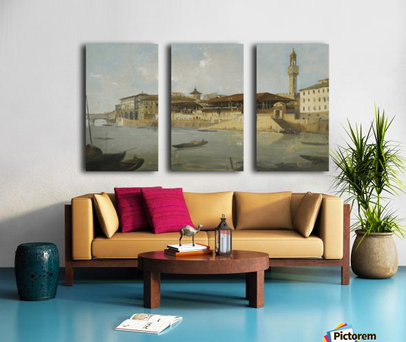 Florence, a view of the Arno with the Tiratoio delle Grazie Split Canvas print
