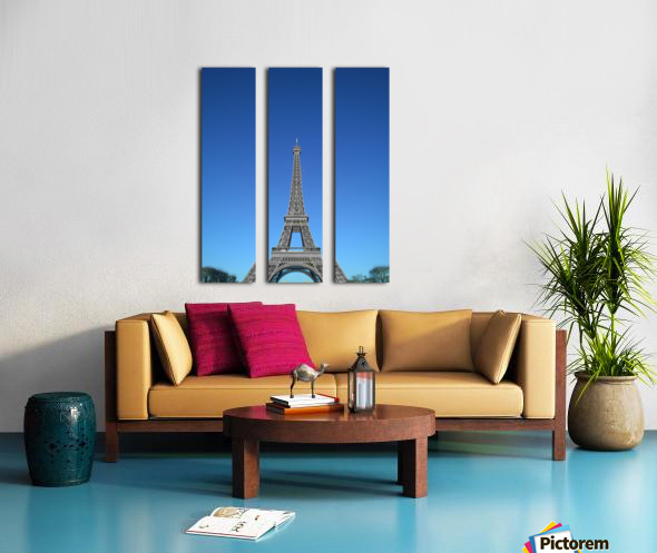 Eiffel tower Paris black and white with color Split Canvas print