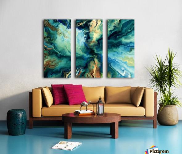 Oil Painting Abstract Color Line Wave Design Split Canvas print