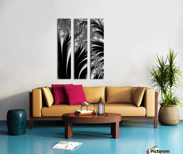 Silver And Black Abstract Split Canvas print