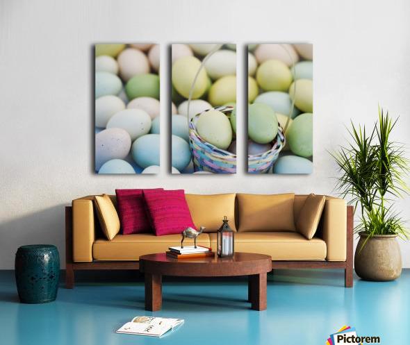 Easter Eggs And Basket Split Canvas print