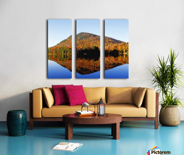 Autumn Colours Reflected In Water, Eastern Townships, Quebec, Canada Split Canvas print