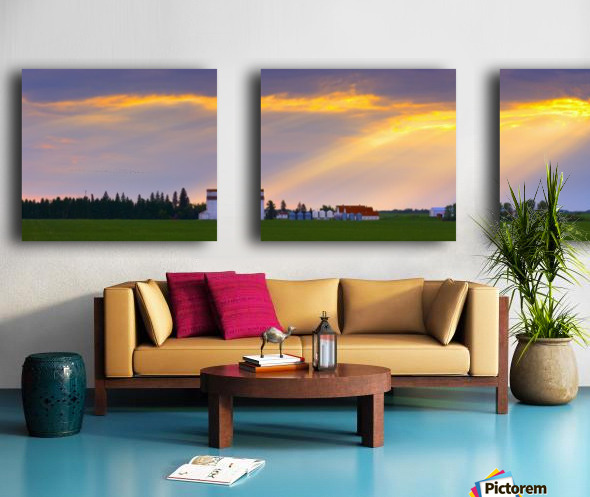 God Beams Over Prairie Farm Split Canvas print