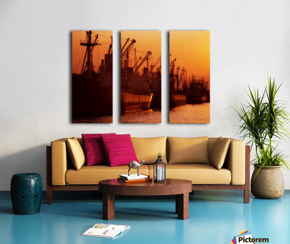 Shipping Freighters At Sunset Split Canvas print