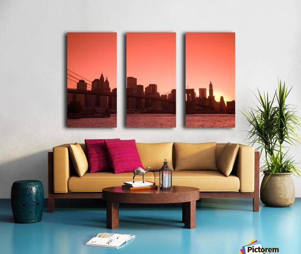 Lower Manhattan Skyline Viewed From Brooklyn Bridge Park, Brooklyn, New York City, New York, Usa Split Canvas print