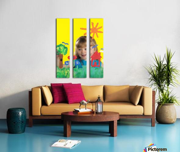 Girl Painting On Glass Split Canvas print