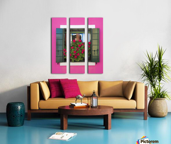 Pink Wall And Green Shutters, Burano, Italy Split Canvas print