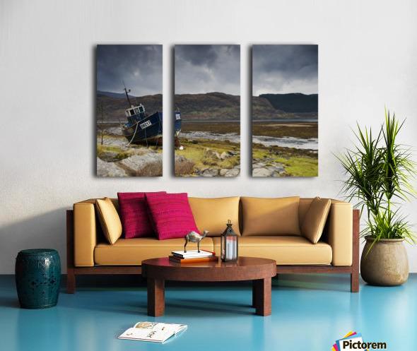 Boat Ashore, Loch Sunart, Scotland Split Canvas print