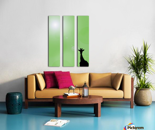 Silhouette Of A Giraffe Split Canvas print