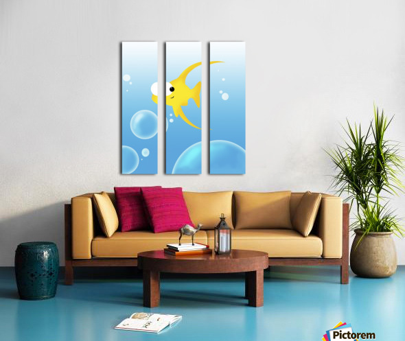 Illustration Of Fish And Bubbles Split Canvas print
