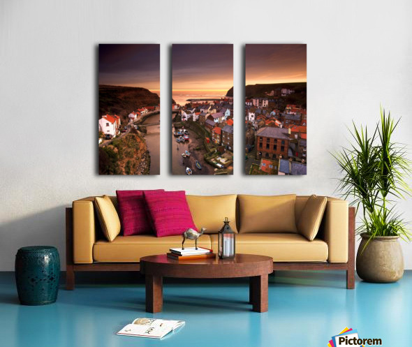 Cityscape At Sunset, Staithes, Yorkshire, England Split Canvas print