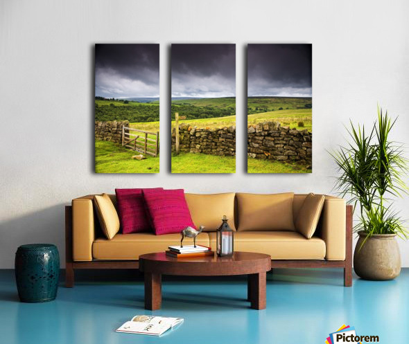 Stone Fence, Yorkshire, England Split Canvas print