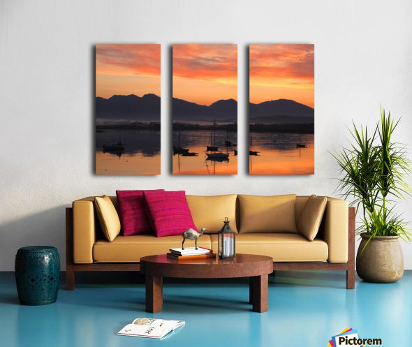Sunrise At Roundstone Harbour With 12 Bens, Galway, Ireland Split Canvas print