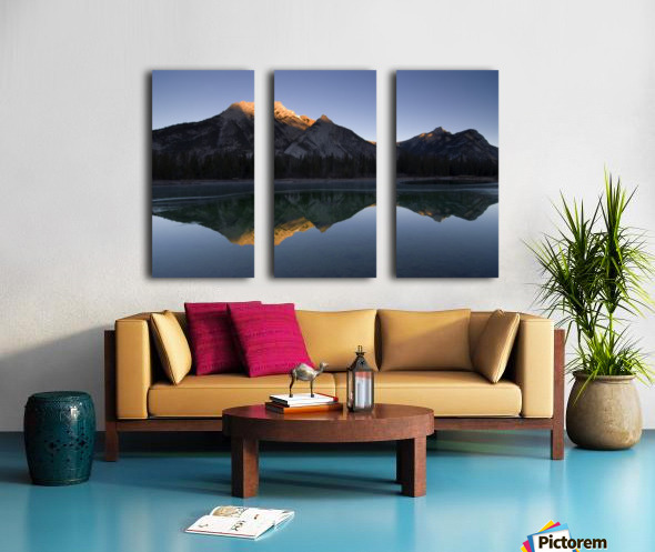 Mirror Image Of A Mountain In Water, Mount Lorette, Kananaskis, Alberta, Canada Split Canvas print