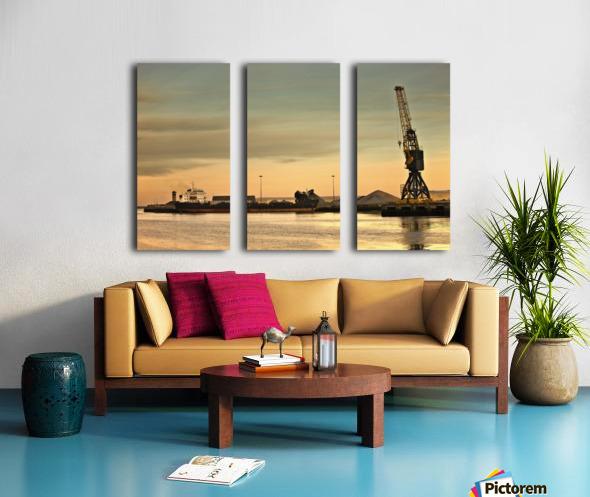Tyne And Wear, Sunderland, England; Crane At A Shipping Dock Split Canvas print