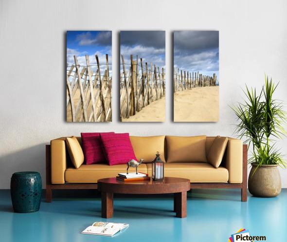 South Shields, Tyne And Wear, England; Dark Clouds Over Fence On A Beach Split Canvas print