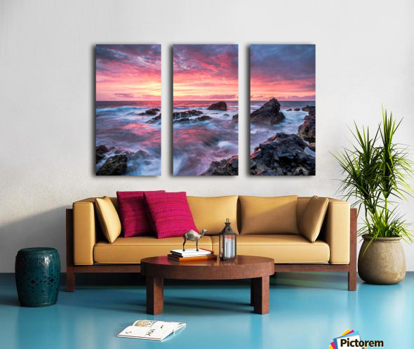Colorful Sunset at Wild Coast on the Canary Islands Split Canvas print
