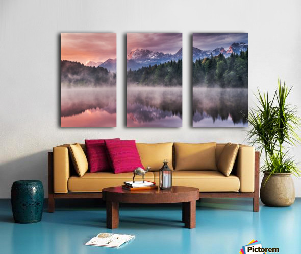 Sunrise at a Lake with Alps in the Background Split Canvas print