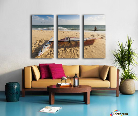 A Man On The Beach With His Windsurfing Board; Tarifa, Cadiz, Andalusia, Spain Split Canvas print