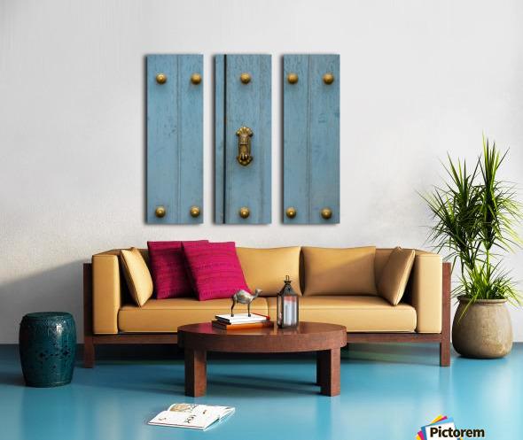 A Blue Door With Brass Decorative Knobs; Cusco, Peru Split Canvas print