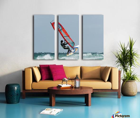 A Windsurfer In The Water; Tarifa, Cadiz, Andalusia, Spain Split Canvas print